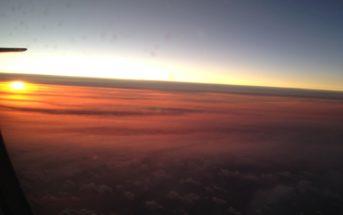 Flugzeug Abendsonne Teneriffa Kanaren