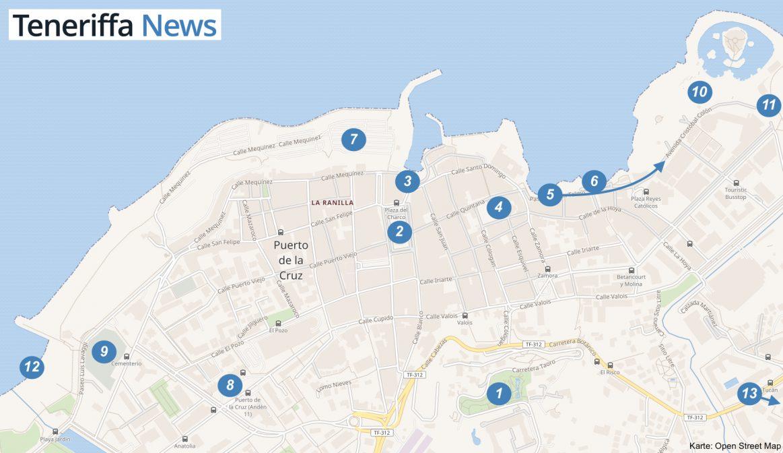 Karte Puerto de la Cruz Teneriffa Altstadt Stadtplan