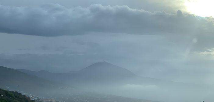 Unwetter Sturm Wolken Teide Teneriffa Kanaren