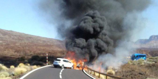Teide Unfall Feuer Autos Teneriffa
