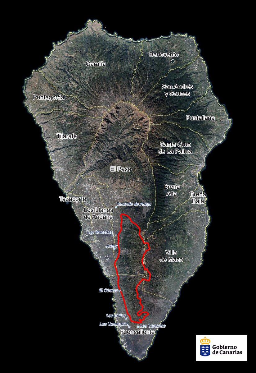 Waldbrand La Palma Gebiet 2016