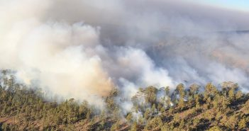 Waldbrand Teneriffa Luftbild Rauch