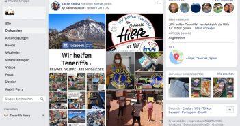 Wir helfen Teneriffa Facebook-Gruppe Corona-Hilfe